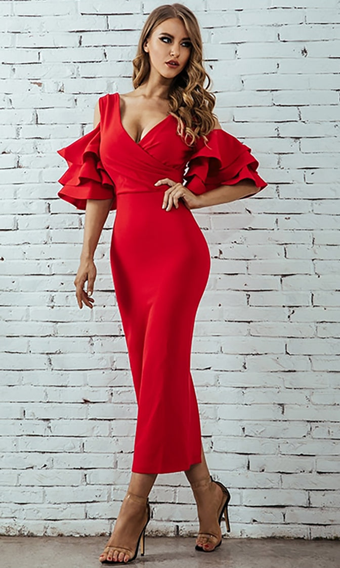 Raised Me Right Red Elbow Sleeve Ruffle Cross Wrap V Neck Cold Shoulder Bodycon Midi Dress - 7 Colors Available