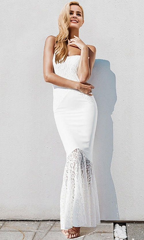Loyal Lover Sleeveless Lace Spaghetti Strap Sweetheart Neck Fishtail Maxi Dress - 2 Colors Available