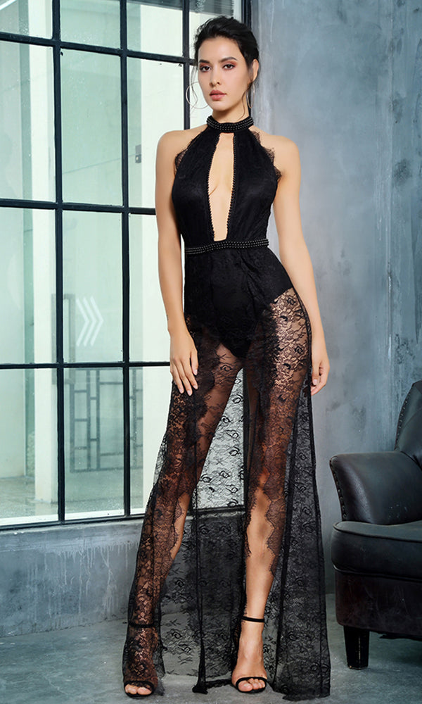 Take My Order Black Beaded Lace Sleeveless Mock Neck Plunge V Neck Double Slit Maxi Dress