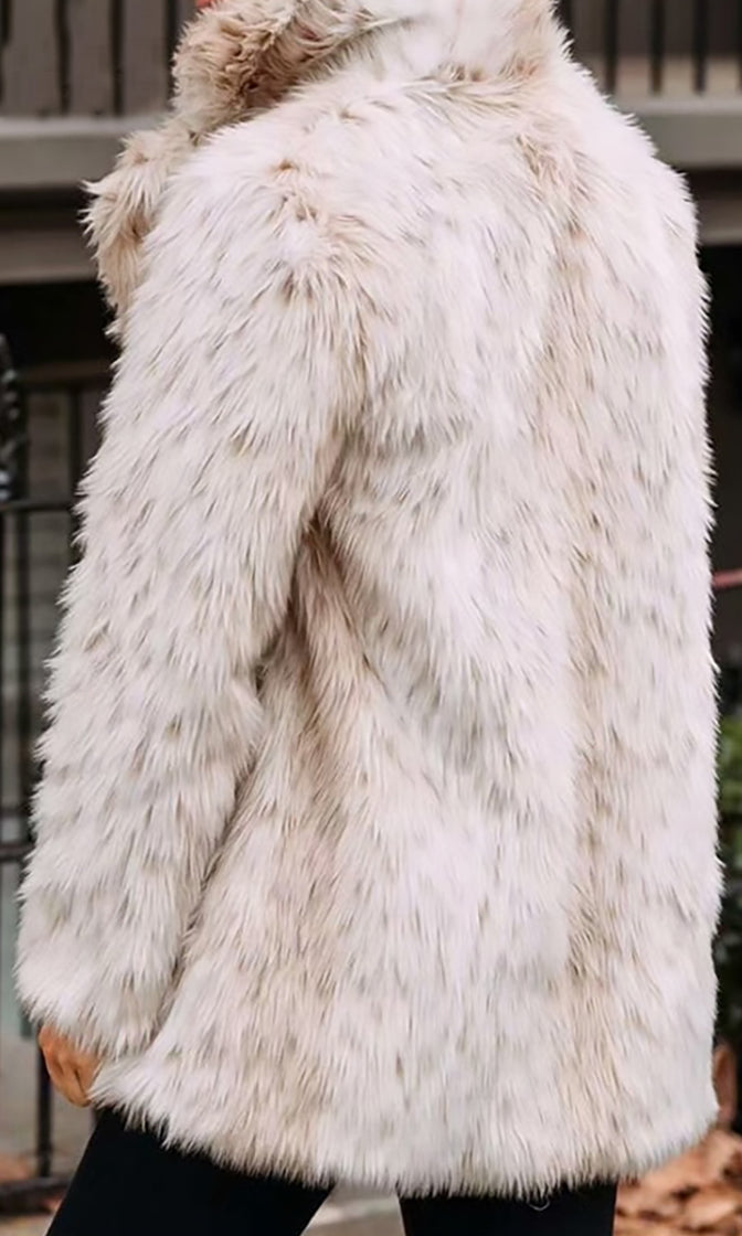 Elevated Game Faux Fur Leopard Pattern Long Sleeve Lapel Coat Outerwear