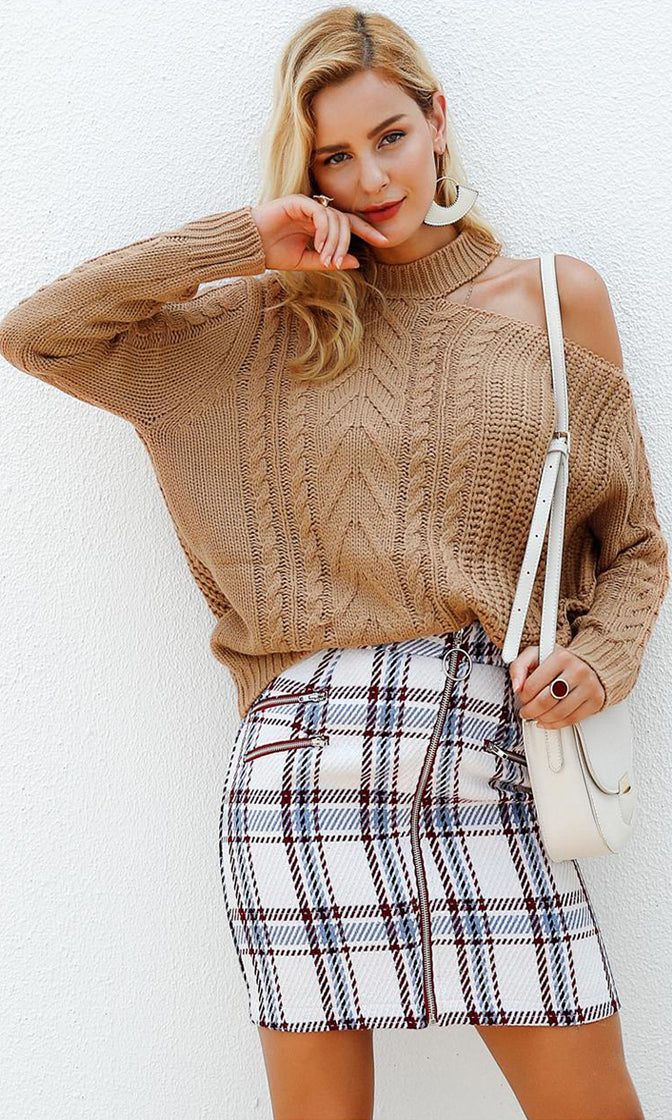Drive Me Away Brown Long Sleeve Cut Out Shoulder Pattern Round Neck Pullover Cable Sweater