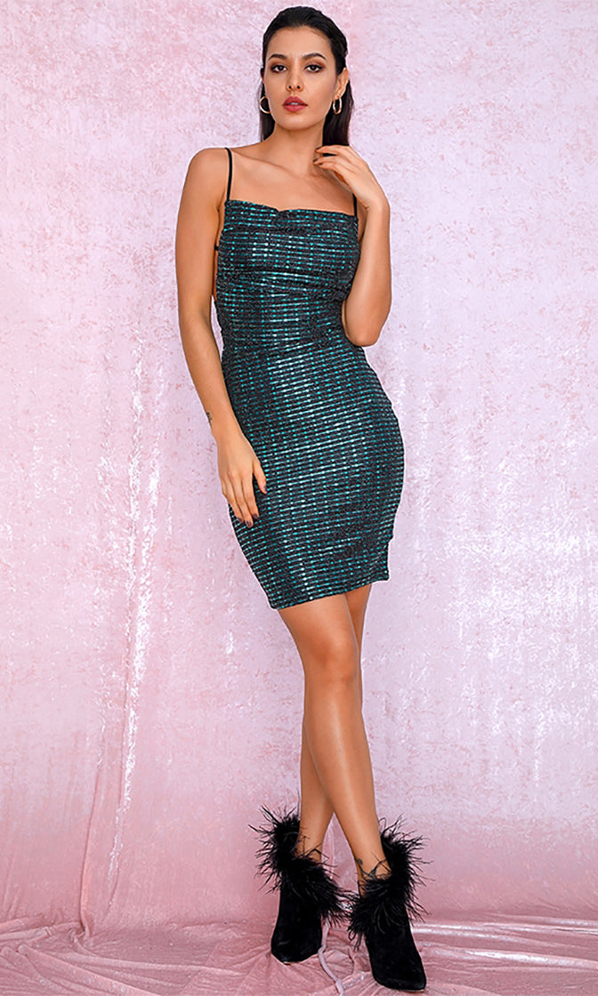 Get Into The Groove Dark Teal Glitter Sleeveless Spaghetti Strap Cut Out Back Bodycon Mini Dress