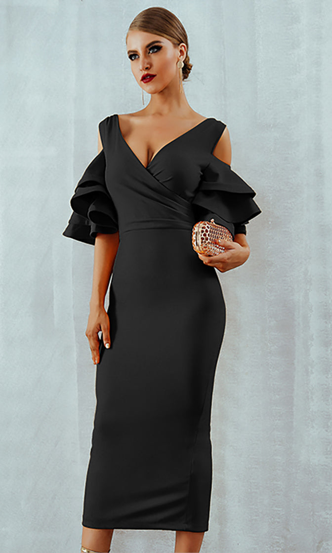 Raised Me Right Black Elbow Sleeve Ruffle Cross Wrap V Neck Cold Shoulder Bodycon Midi Dress