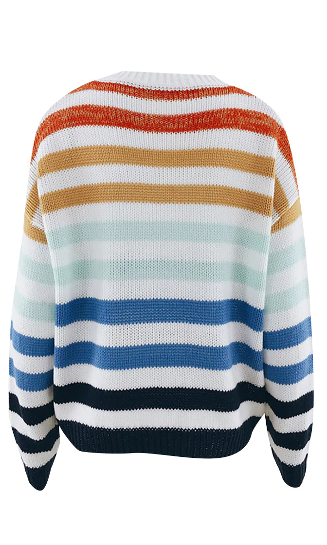 Casual Feelings Horizontal Stripe Pattern Long Sleeve Round Neck Pullover Sweater - 2 Colors Available