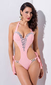 La Jolla Black Sequin Geometric Pattern Spaghetti Strap Plunge V Neck Cut Out Sides Brazilian One Piece Monokini Swimsuit