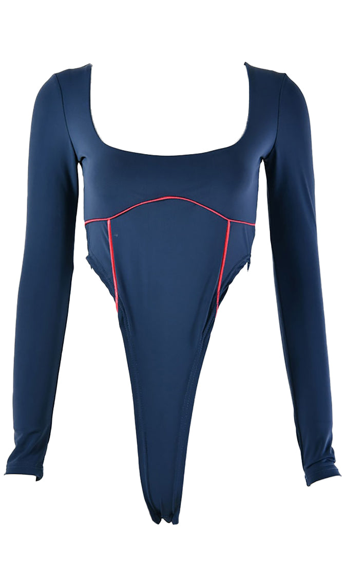 Far From Love Navy Blue Contrast Piping Long Sleeve Scoop Neck High Cut Bodysuit Top - 2 Colors Available