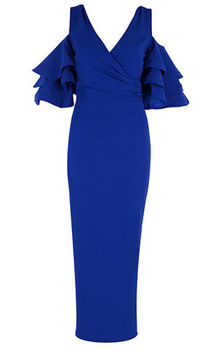 Raised Me Right Royal Blue Elbow Sleeve Ruffle Cross Wrap V Neck Cold Shoulder Bodycon Midi Dress