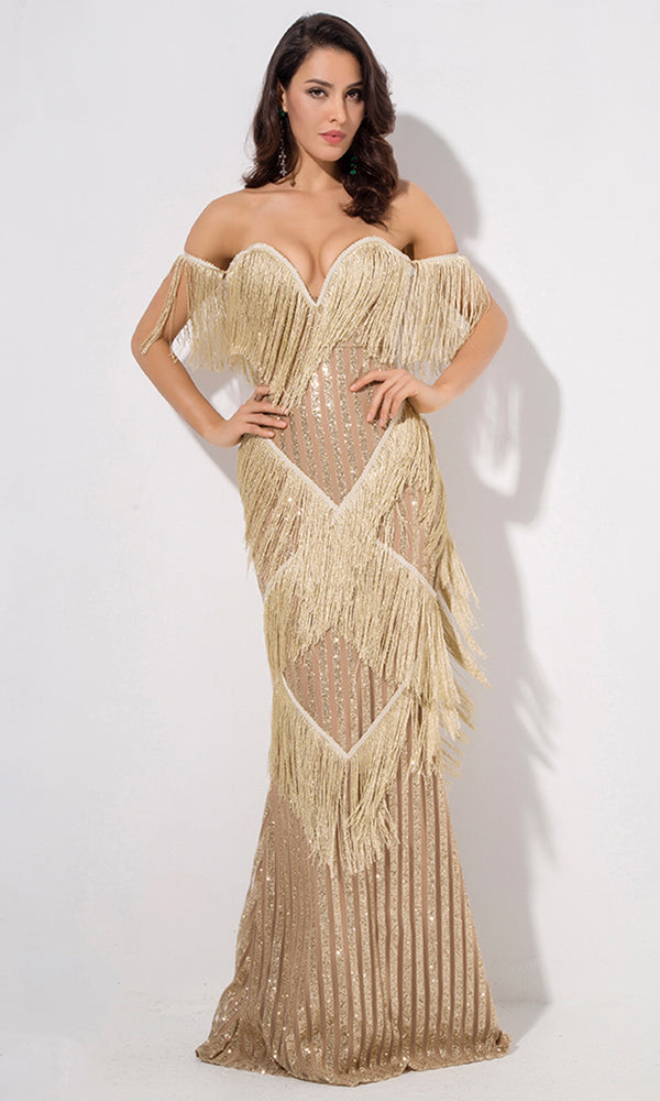 Golden Sunrise Gold Fringe Glitter Stripe Pattern Short Sleeve Off The Shoulder V Neck Maxi Dress