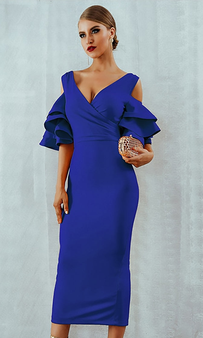 Raised Me Right Royal Blue Elbow Sleeve Ruffle Cross Wrap V Neck Cold Shoulder Bodycon Midi Dress - 7 Colors Available