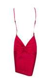 It's My Party Burgundy Sleeveless Spaghetti Strap Plunge V Neck Backless Twist Ruched Bodycon Mini Dress