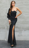 Gazing At The Stars Black One Shoulder Long Puff Sleeve Sweetheart Neck Side Slit Maxi Dress - Sold Out