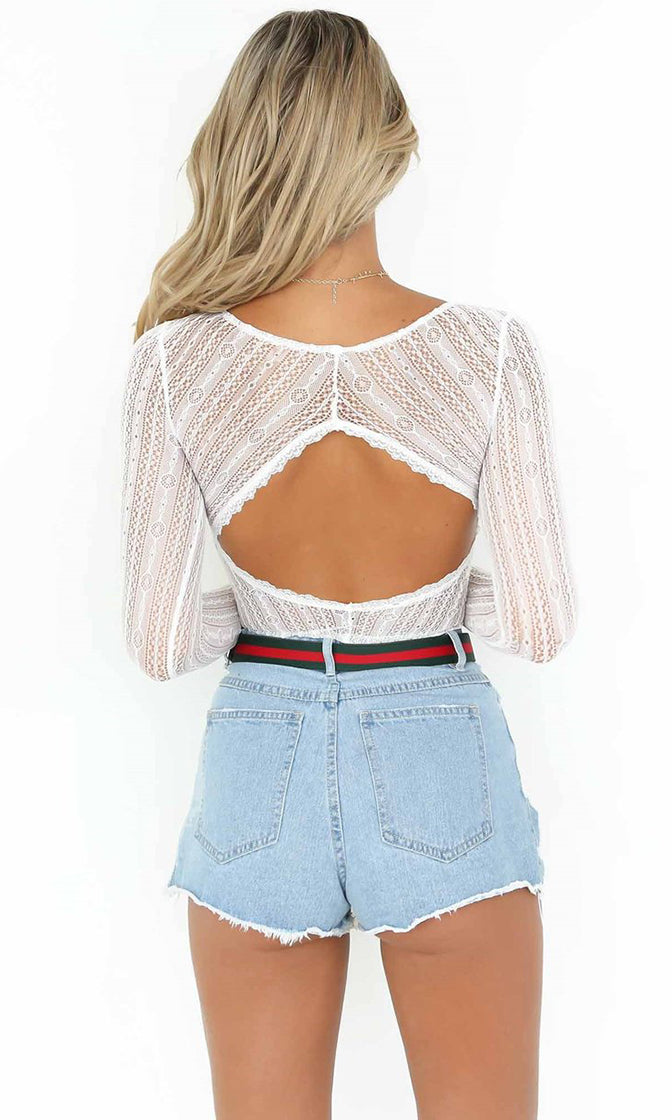 e1db363118c5c8 Whispers And Lies White Sheer Mesh Lace Long Sleeve V Neck Cut Out Back  Bodysuit Top