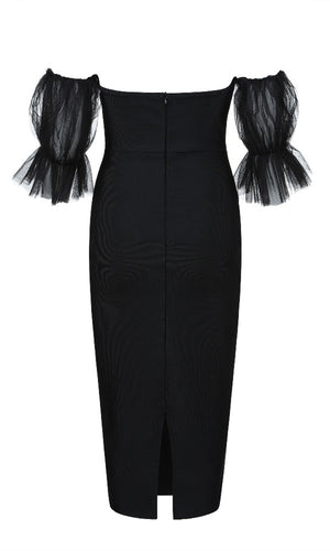 Dinner For Two Black Sheer Ruffle Off The Shoulder Bodycon Bandage Midi Dress