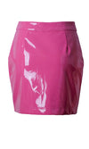 Get Real Pink PU Faux Leather Zipper High Waist Bodycon Casual Mini Skirt