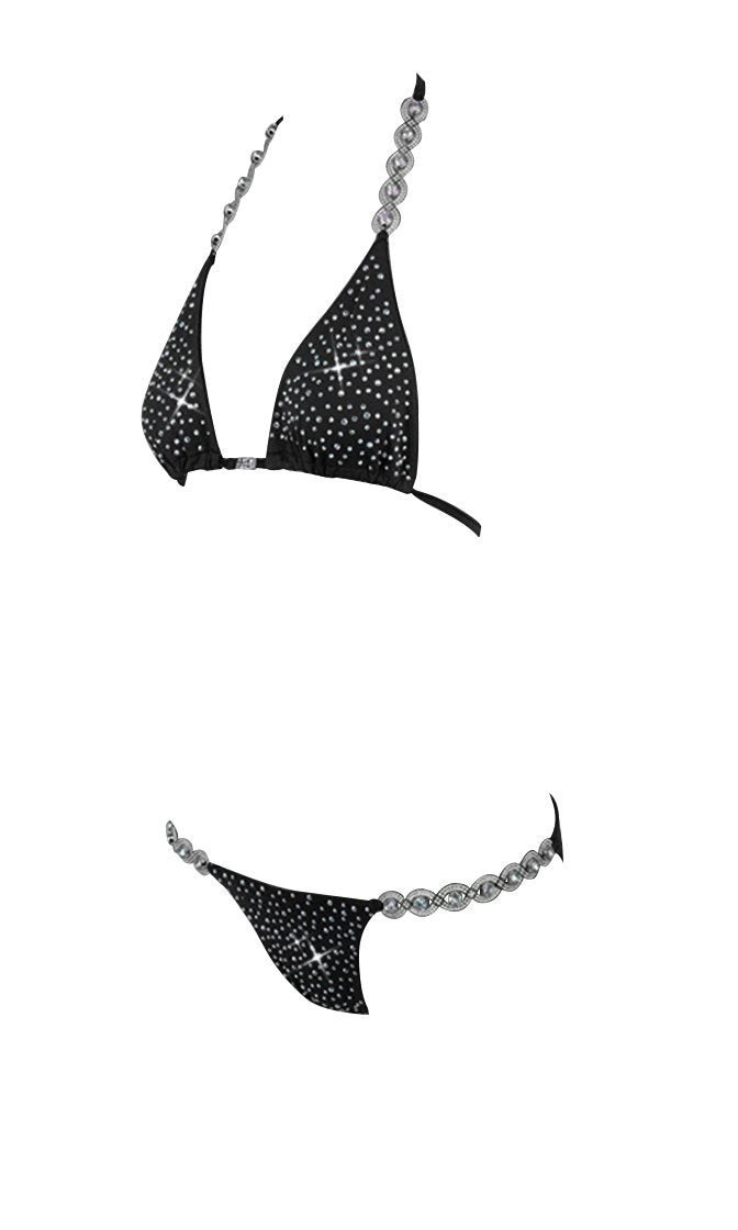 Bringing Sexy Back Rhinestone Black Triangle Top Brazilian Two Piece Bikini Swimsuit - Sold Out