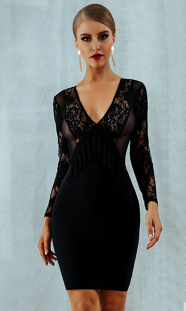 I'll Win Black Sheer Mesh Lace Long Sleeve V Neck Tassel Bodycon Bandage Midi Dress