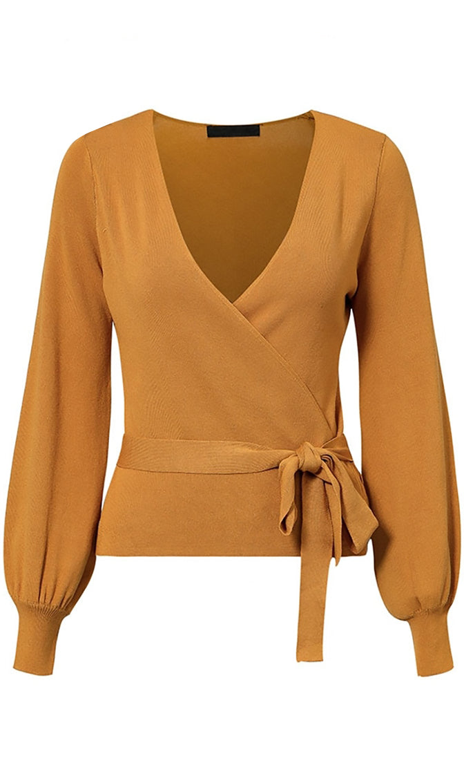Office Party Long Sleeve Cross Wrap V Neck Tie Waist Cardigan Sweater - 2 Colors Available - Sold Out