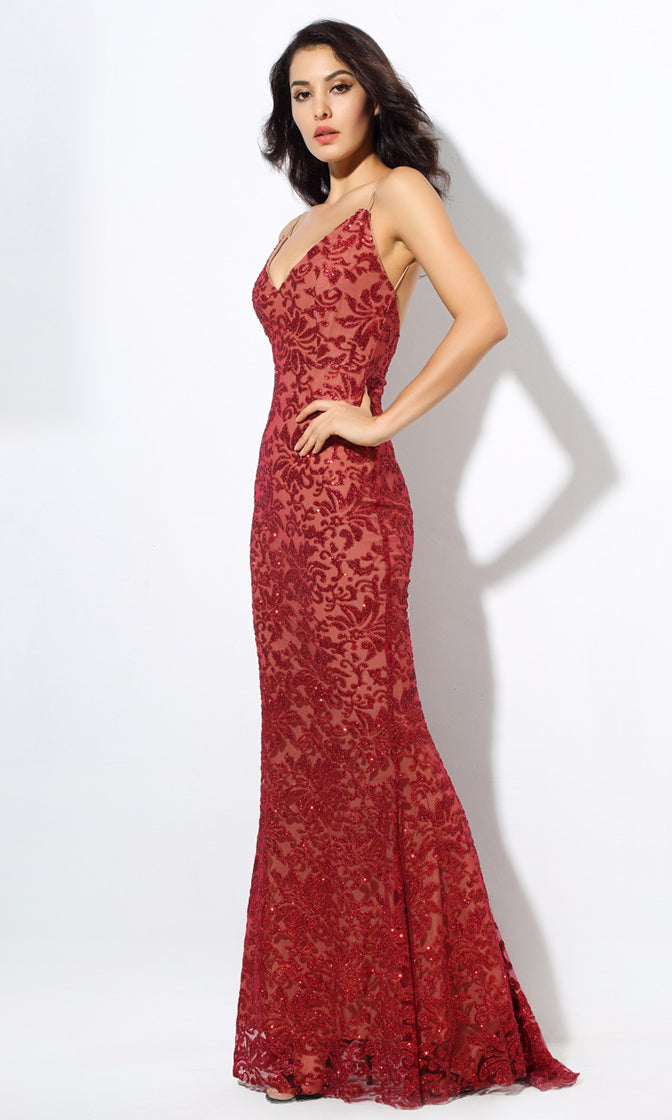 All Night Affair Glitter Floral Pattern Sleeveless Spaghetti Strap V Neck Maxi Dress - 2 Colors Available