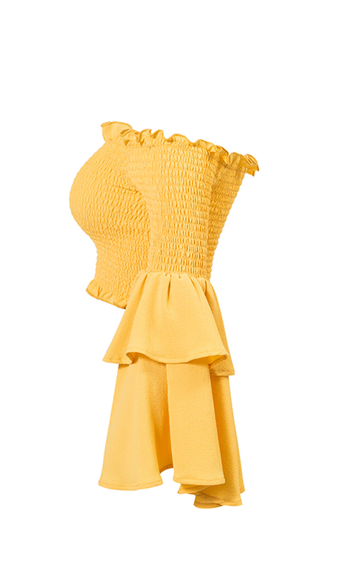 Always A Star Yellow Long Bell Sleeve Smocked Off The Shoulder Crop Top - 4 Colors Available - Sold Out