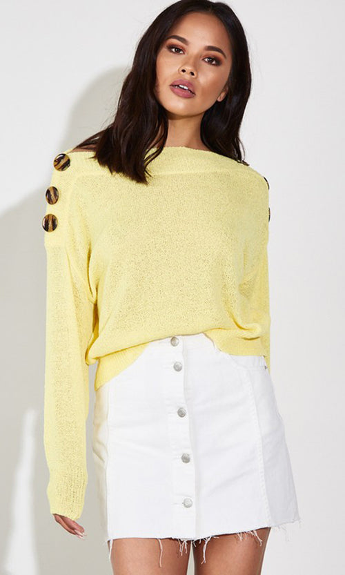 Century City Long Sleeve Off The Shoulder Button Trim Pullover Sweater - 4 Colors Available