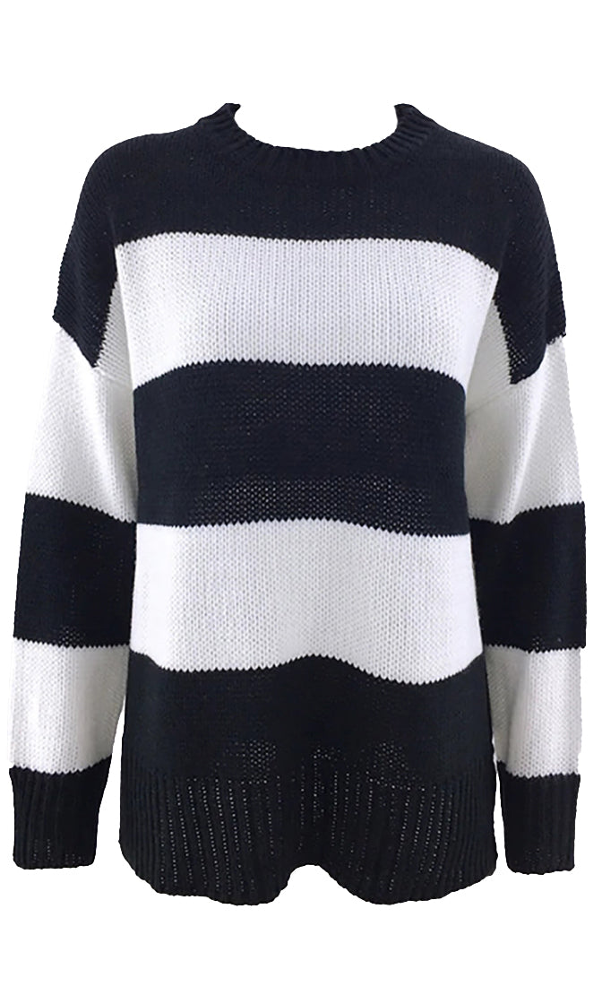 Smell The Coffee Horizontal Stripe Pattern Long Sleeve Crew Neck Pullover Tunic Sweater - 2 Colors Available