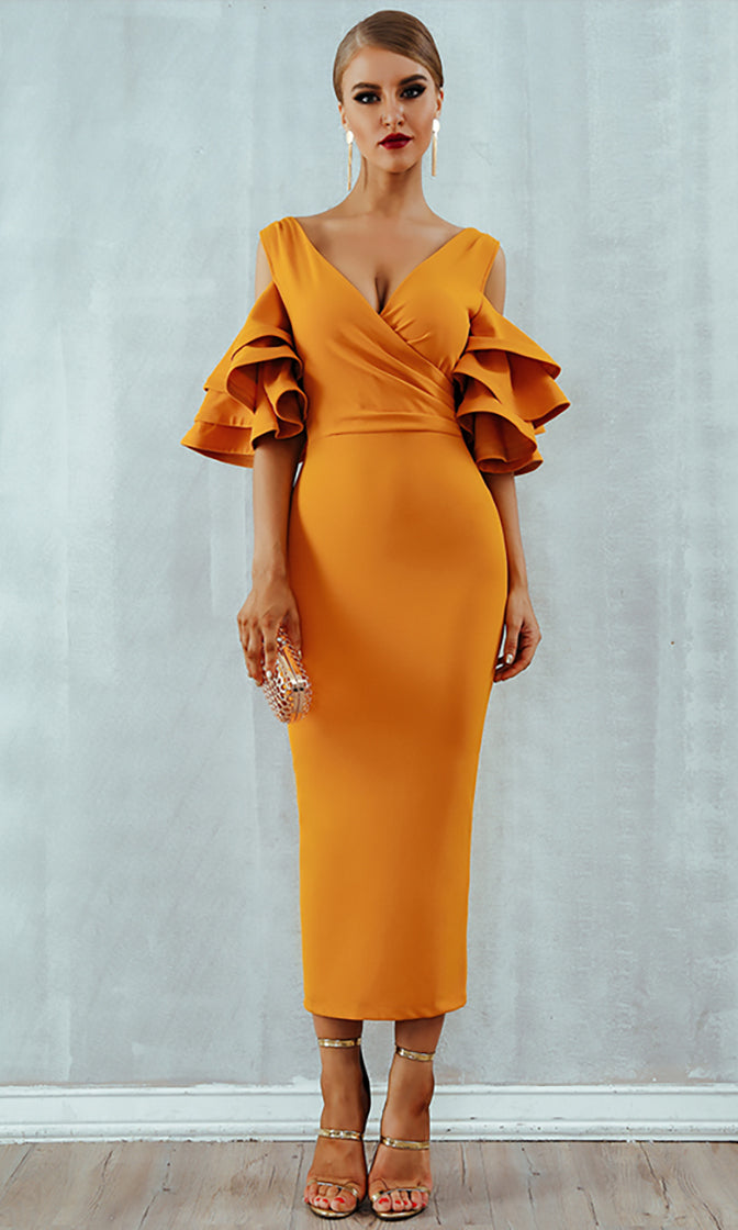 Raised Me Right Orange Elbow Sleeve Ruffle Cross Wrap V Neck Cold Shoulder Bodycon Midi Dress