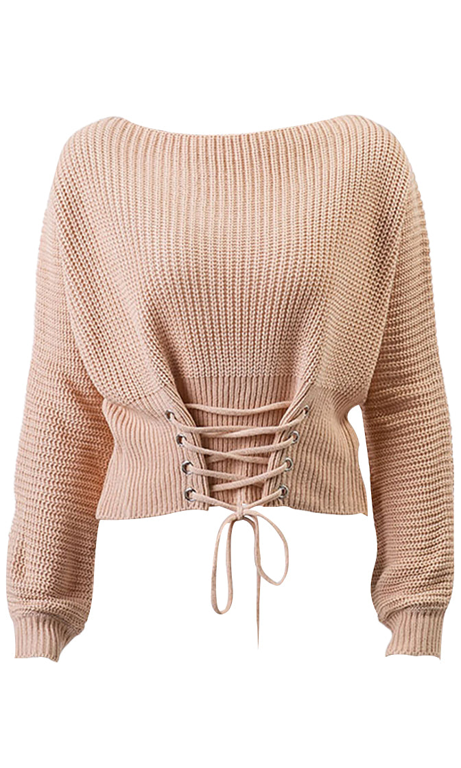 Young And Careless Long Sleeve Boat Neck Lace Up Waist Pullover Sweater - 5 Colors Available