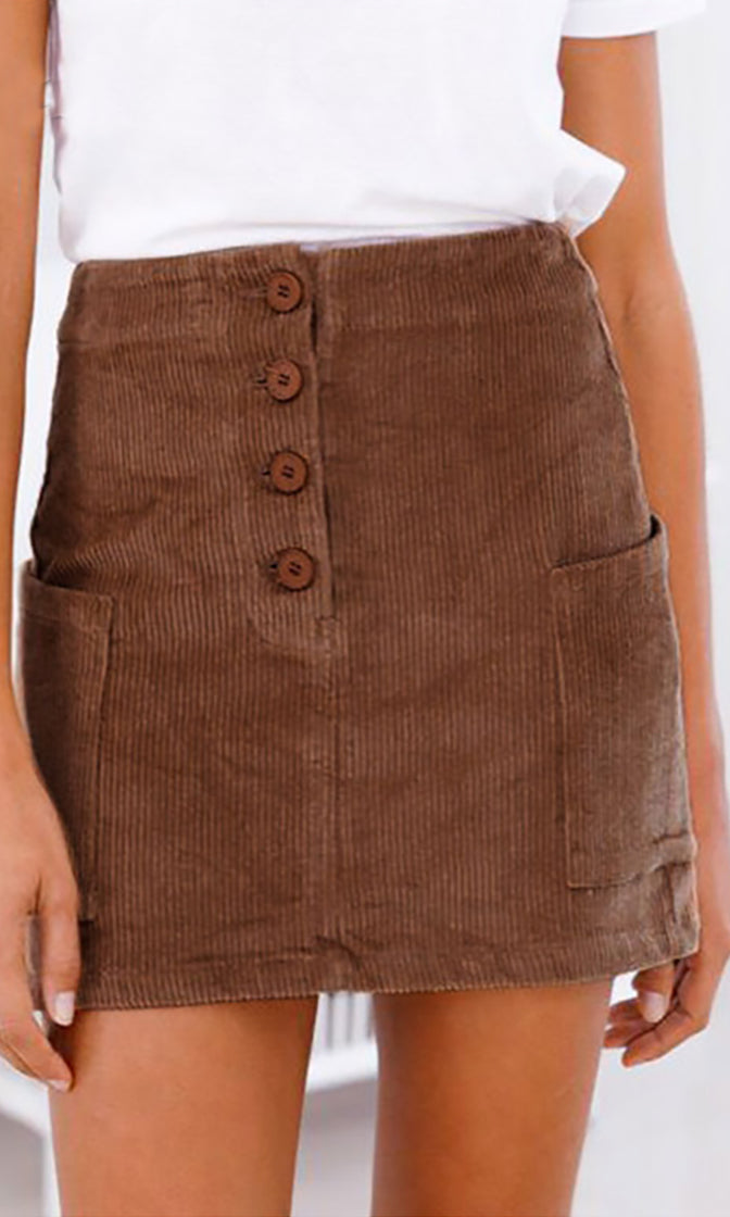 Cutting The Cord Brown Corduroy Button Front Cargo Pocket Pencil Casual Mini Skirt