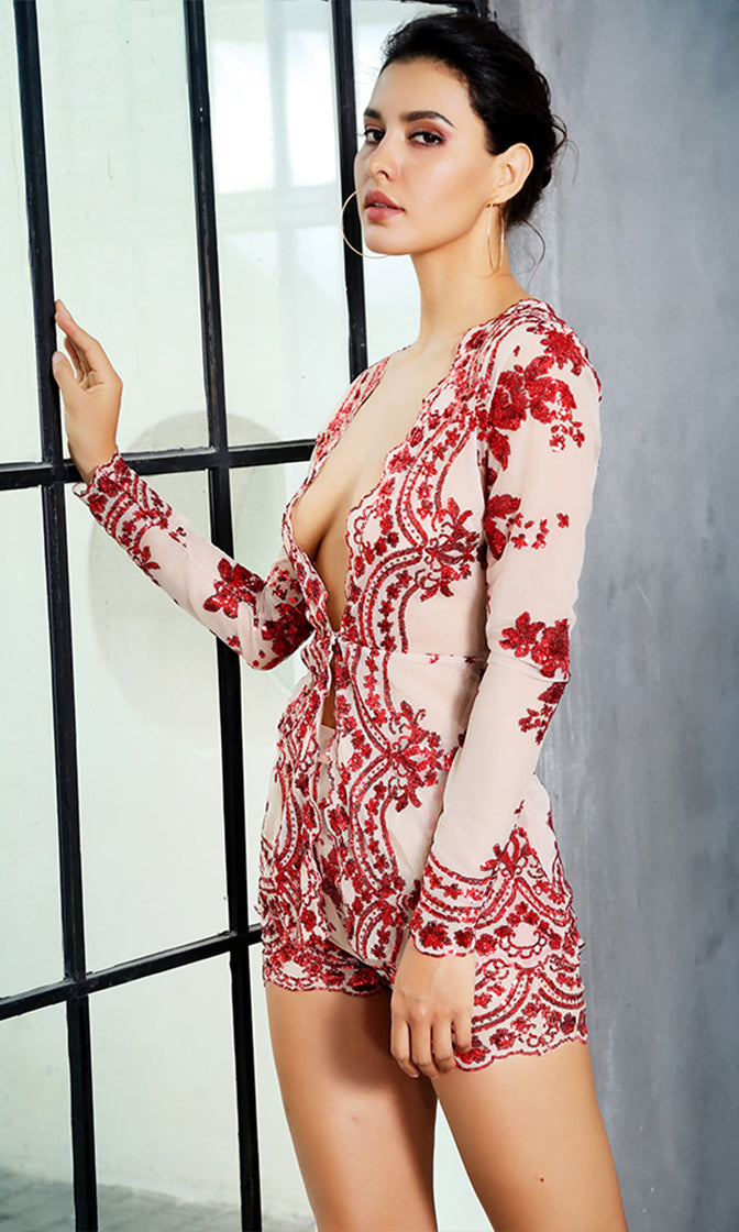 You'll See Me Red Mesh Sequin Flower Pattern Long Sleeve Plunge V Neck Two Piece Short Romper Set