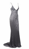 Fire and Ice Dark Grey Sequin Sleeveless Spaghetti Strap Plunge V Neck Backless Mermaid Maxi Dress