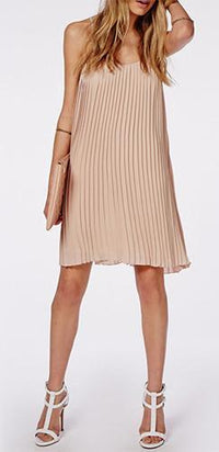 Pretty Pleats Beige Spaghetti Strap Scoop Neck Pleated A Line Flare Chiffon Mini Dress - Sold Out