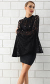 Hear My Story Black Lace Long Bell Sleeve Mock Neck Bodycon Bandage Mini Dress