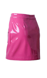 Get Real Pink PU Faux Leather Zipper High Waist Bodycon Casual Mini Skirt - Sold Out