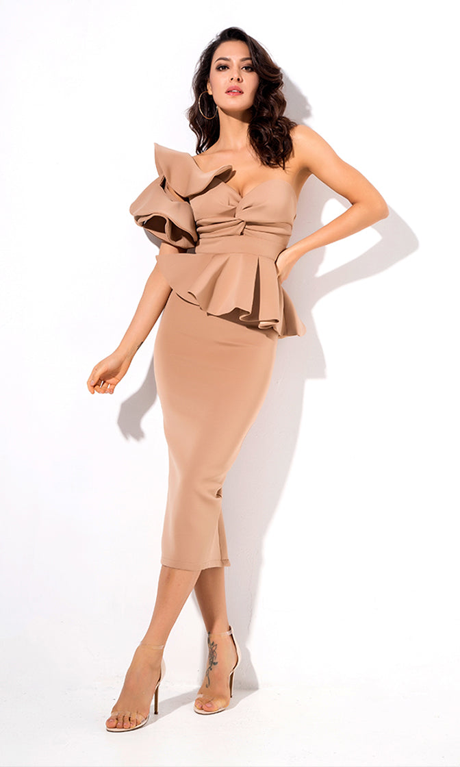 Be Faithful Nude One Shoulder Ruffle Peplum Twist Front Two Piece Bodycon Midi Dress