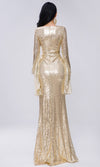 Mystic Magic Gold Sequin Long Bell Sleeve Sheer Mesh Plunging Deep V Neck A Line Maxi Dress