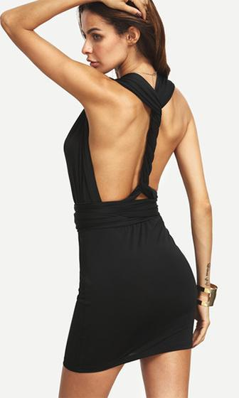 Night Of Love Black Sleeveless Convertible Strap Bodycon Mini Dress - Sold out