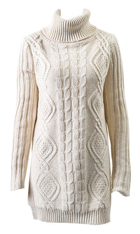 Winter Lover Long Sleeve Turtleneck Cable Side Slit Pattern Pullover Tunic Sweater - Sold Out