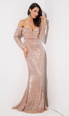 Award Season Silver Glitter Geometric Lace Pattern Long Sleeve Mock Neck Mermaid Dress