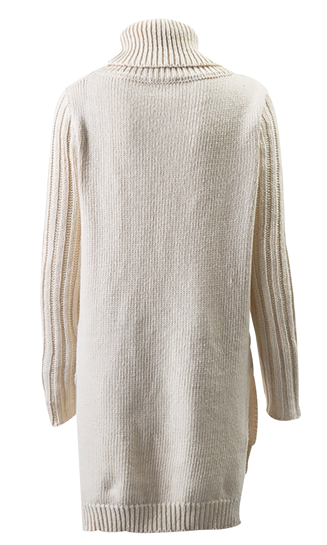 Winter Lover Long Sleeve Turtleneck Cable Side Slit Pullover Tunic Sweater - 2 Colors Available