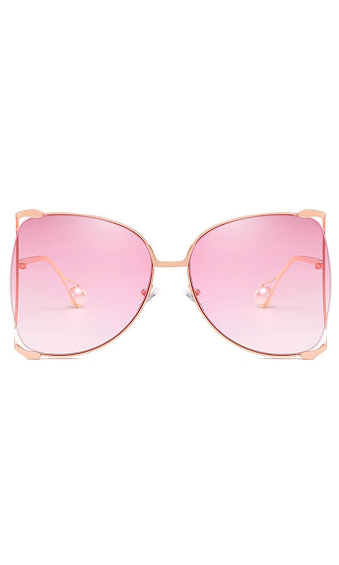 Throw Some Shade Metal Wire Frame Oversized Pearl Sunglasses - 4 Colors Available
