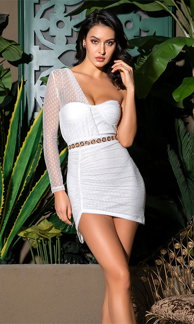 Making Good Choices White Sheer Mesh Lace Dot One Long Sleeve Ruched Bodycon Mini Dress