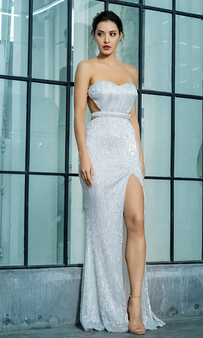 Lose Control Silver Sequin Strapless Sweetheart Neck Cut Out Sides Backless  High Slit Maxi Dress 4bd03fa8c