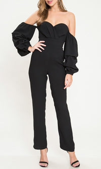 In The Know Black Ruffle Long Lantern Sleeve Off The Shoulder Sweetheart Neckline Straight Leg Loose Jumpsuit - Sold Out