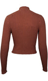 Back At It Brown Ribbed Long Sleeve Mock Neck Crop Pullover Sweater