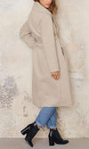 Spy Game Beige Long Sleeve Turn Down Collar Belted Long Coat - Sold Out