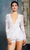 You'll See Me White Mesh Sequin Flower Pattern Long Sleeve Plunge V Neck Two Piece Short Romper Set