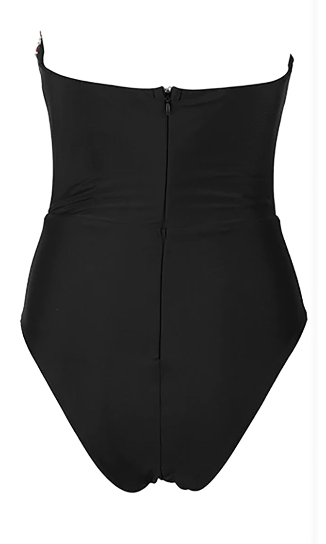 Tidal Wave Black Crystal Strapless Plunge V Neck One Piece Swimsuit