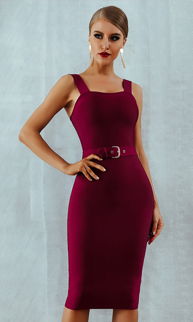 Charity Event Burgundy Sleeveless Scoop Neck Belted Bodycon Bandage Midi Dress - 3 Colors Available