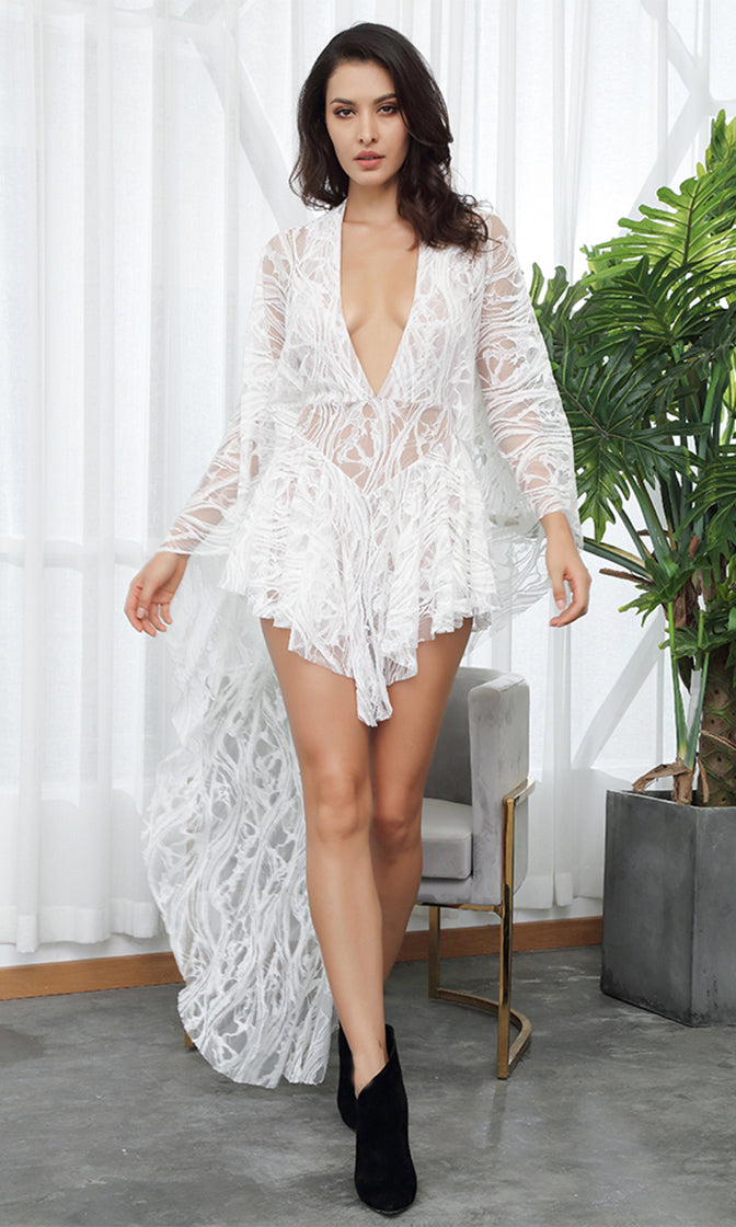 d51aa2a39753 I m The One White Sheer Lace Bell Sleeve Plunge V Neck Ruffle Long Casual