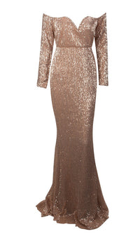 Time To Sparkle Bronze Sequin Long Sleeve Off The Shoulder V Neck Mermaid Maxi Dress